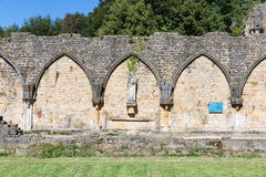 Ruins Orval Abbey in Belgian Ardennes. The abbey is also famous for its trappist beer and botanical garden stock photo