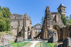 Ruins Orval Abbey in Belgian Ardennes. The abbey is also famous for its trappist beer and botanical garden royalty free stock photography