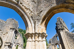 Ruins Orval Abbey in Belgian Ardennes. The abbey is also famous for its trappist beer and botanical garden stock image