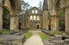 Ruins of Orval. Ancient ruins of the famous 18th century Orval Abbey in the Gaum region in Belgium Royalty Free Stock Photo