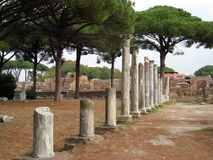 Ruins of Ostia Antica in Italy. Famous archaeological ruins of the ancient city of Ostia in Italy near Rome Royalty Free Stock Images