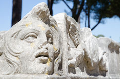 Ruins of Ostia antica. Rome. Forecourt of the corporations, detail Royalty Free Stock Photography
