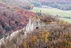 Ruins of Ostry kamen castle in autumn Male Karpaty mountains Stock Photo