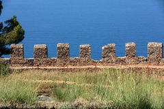 Ruins of Ottoman fortress in Alanya Stock Photo