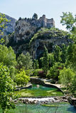 Ruins over Fontaine-de-Vaucluse Stock Photo