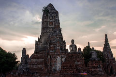 Ruins and pagoda ancient architecture Ayutthaya Province, Thaila. Nd Royalty Free Stock Images