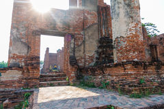Ruins pagoda in Ayutthaya Historical Park, Wat Thammikarat in Ayutthaya, Thailand Stock Image