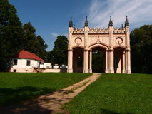 The ruins of the palace of General Pac. The residue from the nineteenth century neo-Gothic pałacuz belonging to the family of the Pac Dowspuda in Podlasie Stock Photos