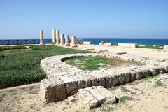 Ruins of the palace of Herod the Great in Caesarea Stock Photos