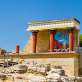 The ruins of the Palace of Knossos in Crete stock photo