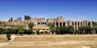 Ruins of Palatine hill palace in Rome, Italy Stock Photo