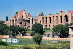Ruins of Palatine hill palace in Rome, Italy Stock Images