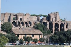 Ruins of Palatine hill palace in Rome, Italy Stock Photos