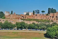 Ruins of Palatine hill palace in Rome, Italy Royalty Free Stock Photo