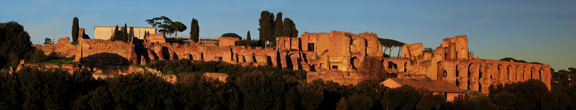 Ruins of Palatine hill palace in Rome Royalty Free Stock Photo