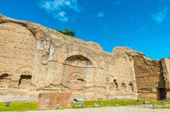 The ruins of Palestra ( or Palaestra ) in the ancient roman Baths of Caracalla ( Thermae Antoninianae ) Royalty Free Stock Image