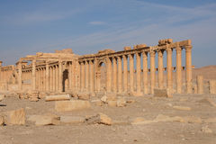 Ruins of palmyra. Ruins of the ancient aramaic city of palmyra (tadmor) in central syria royalty free stock photography