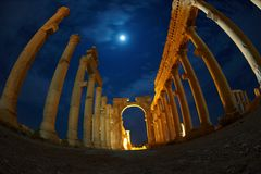 Ruins in Palmyra by night.  royalty free stock images