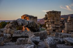 Ruins in the Pamukkale spa. Remains of an ancient buildings from Greek, Roman  period in the Pamukkale Turkey Royalty Free Stock Photo