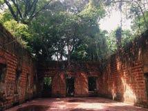 Ruins of Paricatuba, hall with original floor stock image