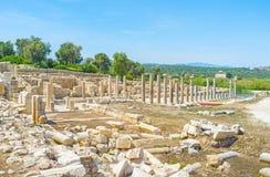 The ruins of Patara. The columns of ancient Agora of Patara, Turkey Royalty Free Stock Photography