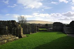 Ruins and Pendle Hill Stock Photo