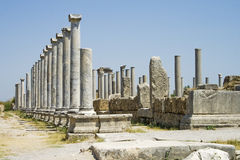 Ruins in Perga. Perga was an ancient Greek city in Anatolia and the capital of Pamphylia, now in Antalya province on the southwestern Mediterranean coast of Royalty Free Stock Photography