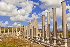 Ruins of Perge an ancient Anatolian city in Turkey. Royalty Free Stock Photos