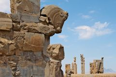Ruins of Persepolis - ancient capital of the Persian empire. Royalty Free Stock Images