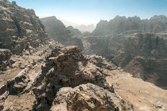 Ruins of Petra. Ruins in the desert of Petra in Jordan on a sunny day Royalty Free Stock Photo