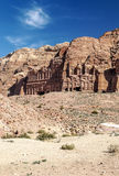 Ruins of Petra. Ruins in the desert of Petra in Jordan on a sunny day. It´s a vertical picture Royalty Free Stock Photo