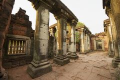Ruins of the Phimai temple in the Phimai Historical Park in Nakhon Ratchasima, Thailand. It is one of the most important Khmer temples in Thailand stock photography