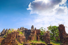 Ruins of Phnom Bakheng Temple at Angkor Wat complex Stock Images