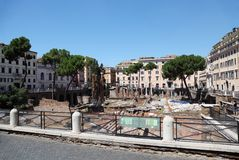Ruins on Piazza Largo di Torre Argentina at summer Stock Images