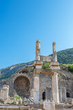 Ruins of pillars on Kuretes Street in Ephesus Royalty Free Stock Photos