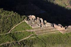 Ruins in Pisaq, Peru. Sunset over ruins in Pisaq in Peru Royalty Free Stock Images