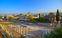 Ruins in Plaka area. Athens, Greece, 2009 Royalty Free Stock Photography
