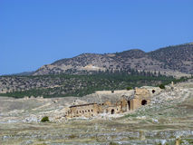 The ruins on the plateau of ancient Hierapolis Royalty Free Stock Photo