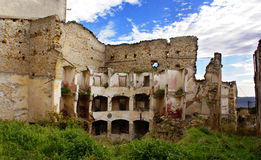 Ruins of Poggioreale theater. Ruins of theater in Poggioreale town, destroyed by the Belice Valley earthquake in 1968, Sicily royalty free stock photo
