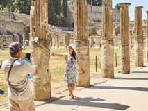 Ruins of Pompeii, ancient Roman city. Pompei, Campania. Italy. royalty free stock image