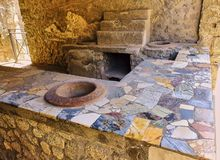 Ruins of Pompeii, ancient Roman city. Pompei, Campania. Italy. Thermopolium of archaeological remains of Via della Abbondanza street at Ruins of Pompeii. The royalty free stock photography