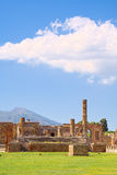 Ruins of Pompeii on deep blue sky Stock Image