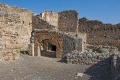 Ruins at Pompeii, Italy. A photo of a portion of the ruins at the ancient city of Pompeii. The city was destroyed by the eruption of the volcano, Mount Vesuvius Royalty Free Stock Images