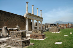 Ruins In Pompeii, Italy. With Mount Vesuvius in background royalty free stock images