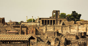 The ruins of Pompeii. A view from above of Pompeii Royalty Free Stock Photo