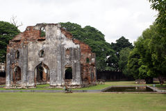 Ruins and pond royalty free stock photography