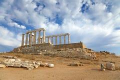Ruins of Poseidon temple. Cape Sounion, Greece Stock Photo