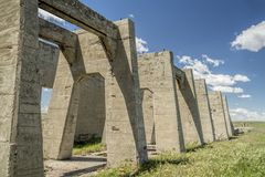 Ruins of potash plant in Antioch, Nebraska. Concrete ruins of one of five reduction plants and pump stations manufacturing potash during World War I near Antioch Stock Photo