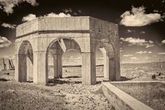 Ruins of potash plant in Antioch, Nebraska. Concrete ruins of one of five reduction plants and pump stations manufacturing potash during World War I near Antioch Stock Photography