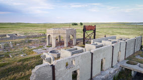 Ruins of potash plant in Antioch, Nebraska. Concrete ruins of one of five reduction plants and pump stations manufacturing potash during World War I near Antioch Stock Images